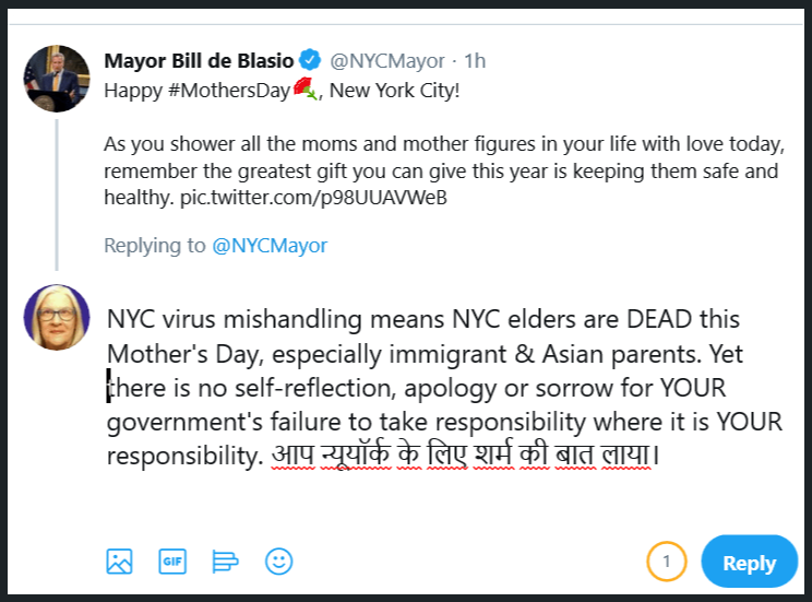 Twitter screen capture regarding virus consequences in NYC for Mother's Day